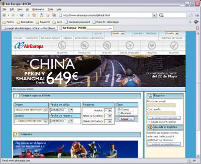 Portada del nuevo web de Air Europa a 2 de marzo de 2005